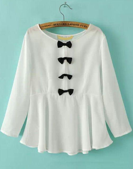 White Long Sleeve Bow Ruffle Chiffon Blouse 17.00