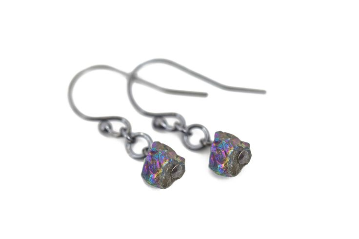 Minimalist silver earrings with rainbow pyrite