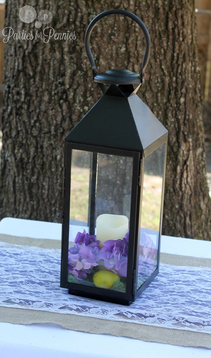 lantern ceterpices with purple | Centerpiece - lantern 1