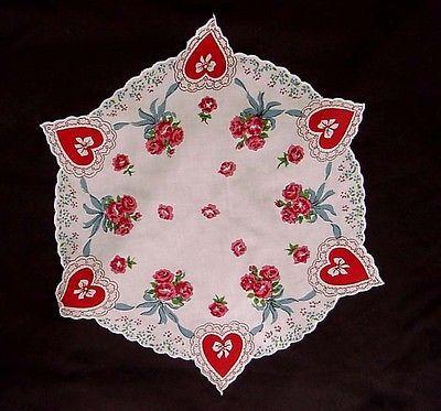 Vintage Valentine Hankie Hearts Rose Bouquet Round Handkerchief Cotton  Hanky |