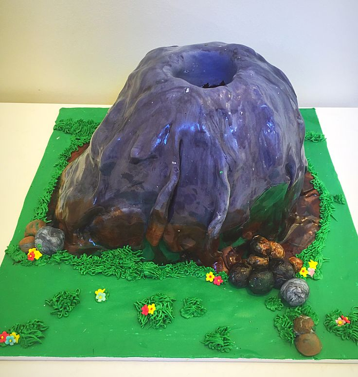 Exploding volcano cake with real eruption using dry ice. Definitely gives a wow factor at a birthday party