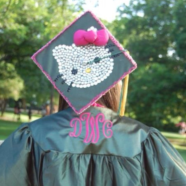 Precious idea for a graduation cap and gown! Denin is the most creative person I know!