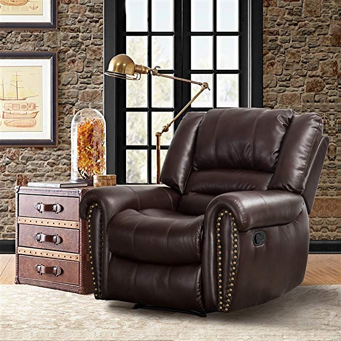 CANMOV Breathable Bonded Leather Recliner Chair, Classic and