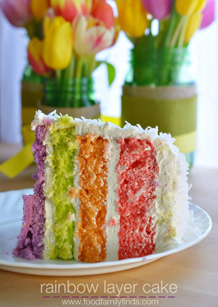 Rainbow Layer Cake for Spring made with JELLO. #Jello #cake #layercake