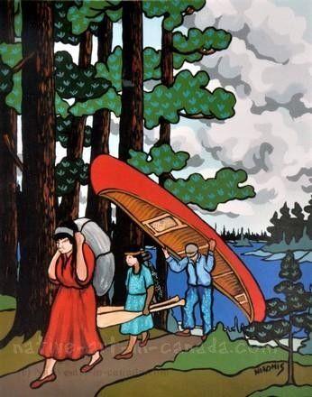 Nokomis painting - Everyone Helped Carry the Canoe