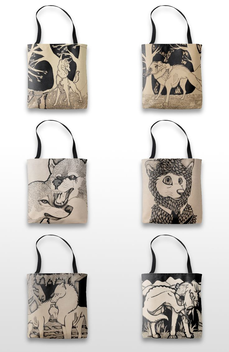 Black and white illustrated wolf and dog tote bags.