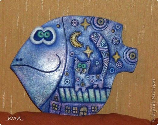Картина панно рисунок Лепка Роспись Две рыбки Тесто соленое фото 2