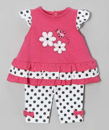 Love this Pink & Black Polka Dot Ladybug Tunic & Pants - Infant by Weeplay Kids on #zulily! #zulilyfinds