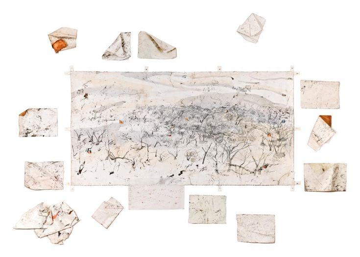 John Wolseley, Murray-Sunset refugia with 14 ventifacts 2008–10 from The Great Tree of Drawings 1959–2015, installed 2015 pencil, watercolour and charcoal on 15 sheets