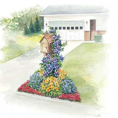 Prícestná záhradka - 1 Blue Light Clematis (summer-fall) - clematis 3 Stella D'Oro Daylilies (summer-fall) - žltá ľaliovka 3 Hardy Blue Geraniums (spring-summer) - muškát 24 Creeping Red Sedum (summer) - rozchodník