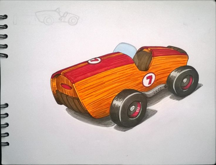 Wooden car. Toy Sketch. marcadores, markers, illustration, ilustracion.