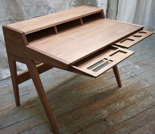 Inspired by the lines of Shaker writing desks and the mid-century classic Swag desk by George Nelson, Ben Klebba of Phloem Studio designed the Laura Desk. The made-to-order desk has beautiful clean lines and handmade craftsmanship you won't find with most companies. not as useable as a regular desk, but pragmatic and beautiful looking.