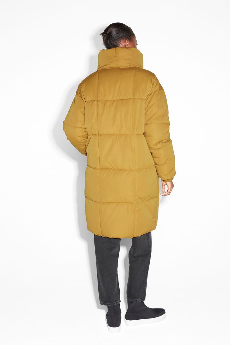 Monki Image 4 of Puff coat in Yellow Dark