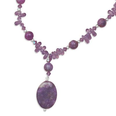 AMETHYST AND SUGILITE BEAD NECKLACE