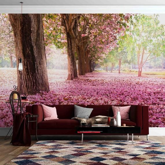 3d Pink Cherry Blossom Forest Petal Road Wallpaper Mural Peel Etsy Tree Wall Murals Feature Wall Wallpaper Mural Wallpaper