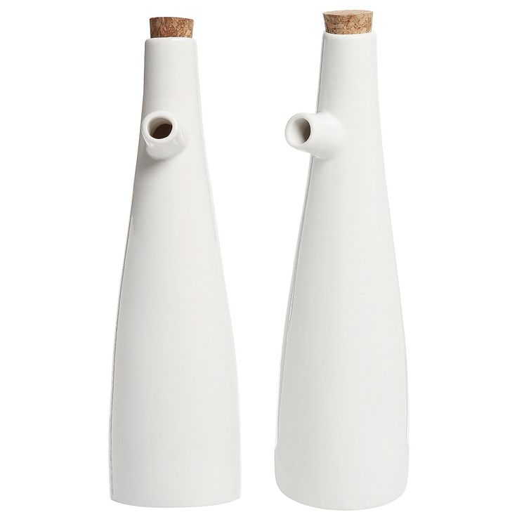 Amazon.com: Set of 2 Modern White Ceramic Tabletop Olive Oil & Vinegar…