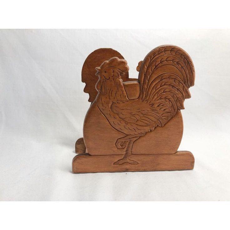 Rooster Wood Craved Napkin Holder, Paper or Cloth Napkin Storage