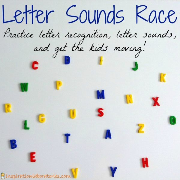 Letter Sounds Race - Practice letter recognition and letter sounds with a fun game that gets kids moving.