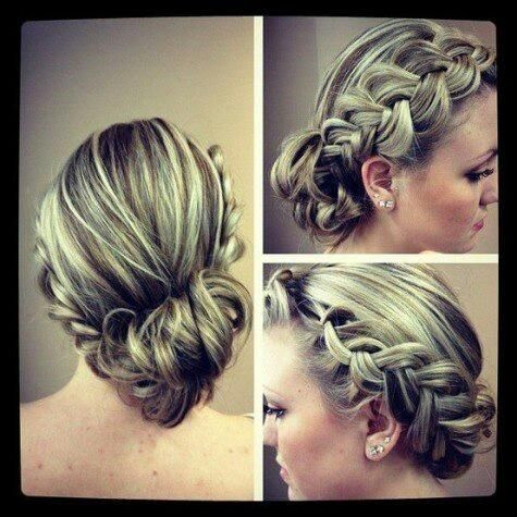 cute pancaked braid into bun. Would be great for a wedding or formal occasion :) love!