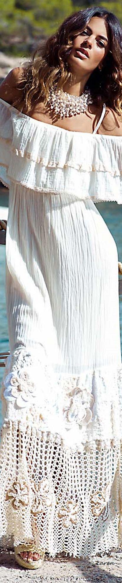 @roressclothes clothing ideas #women fashion white maxi dress Boho Style
