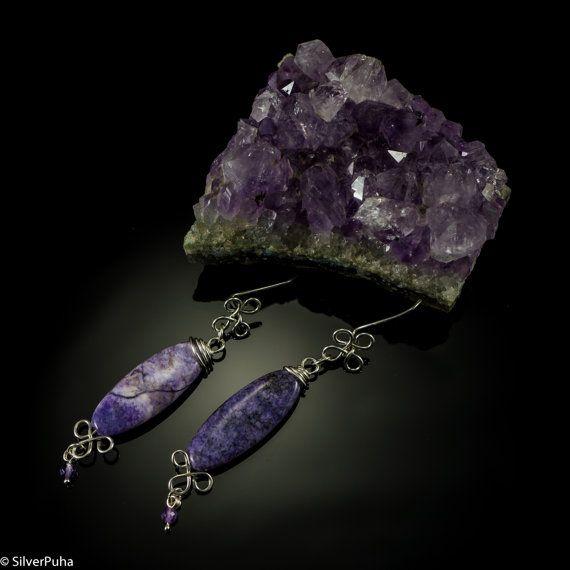 Purple agate and amethyst swirl silver earrings by SilverPuha, $24.00
