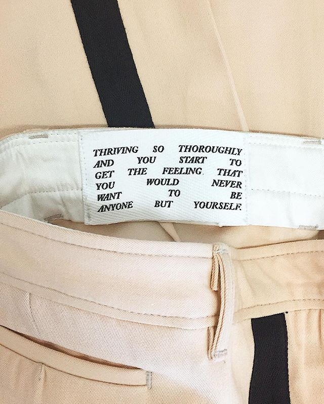 EMPATHY LOS ANGELES made some trousers featuring an instagram caption by arielle from like 2014 i think
