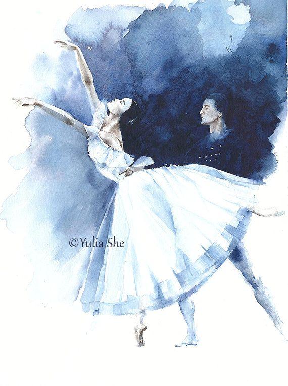 Ballet dancers Giselle scene ballerina  watercolor by YuliaSheArt