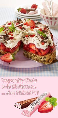 Hmmm... Yogurette Torte mit Erdbeeren. Ein luftiger Nuss-Baiser und eine cremige Schoko-Sahne! ZUM REZEPT >>>