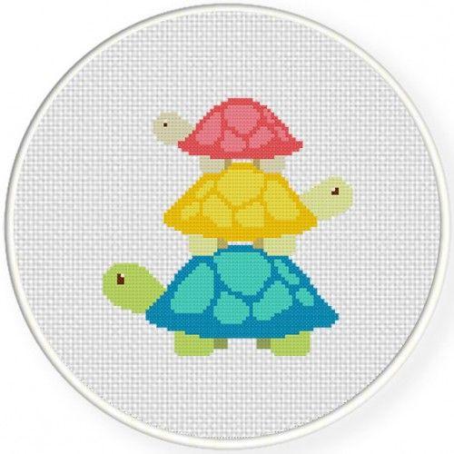 Turtle Tower Cross Stitch Illustration