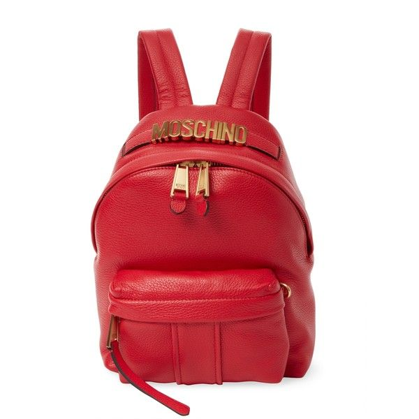 Moschino Women's Textured Leather Backpack - Red ($869) ❤ liked on Polyvore featuring bags, backpacks, red, day pack backpack, strap backpack, strap bag, backpack bags and moschino backpack