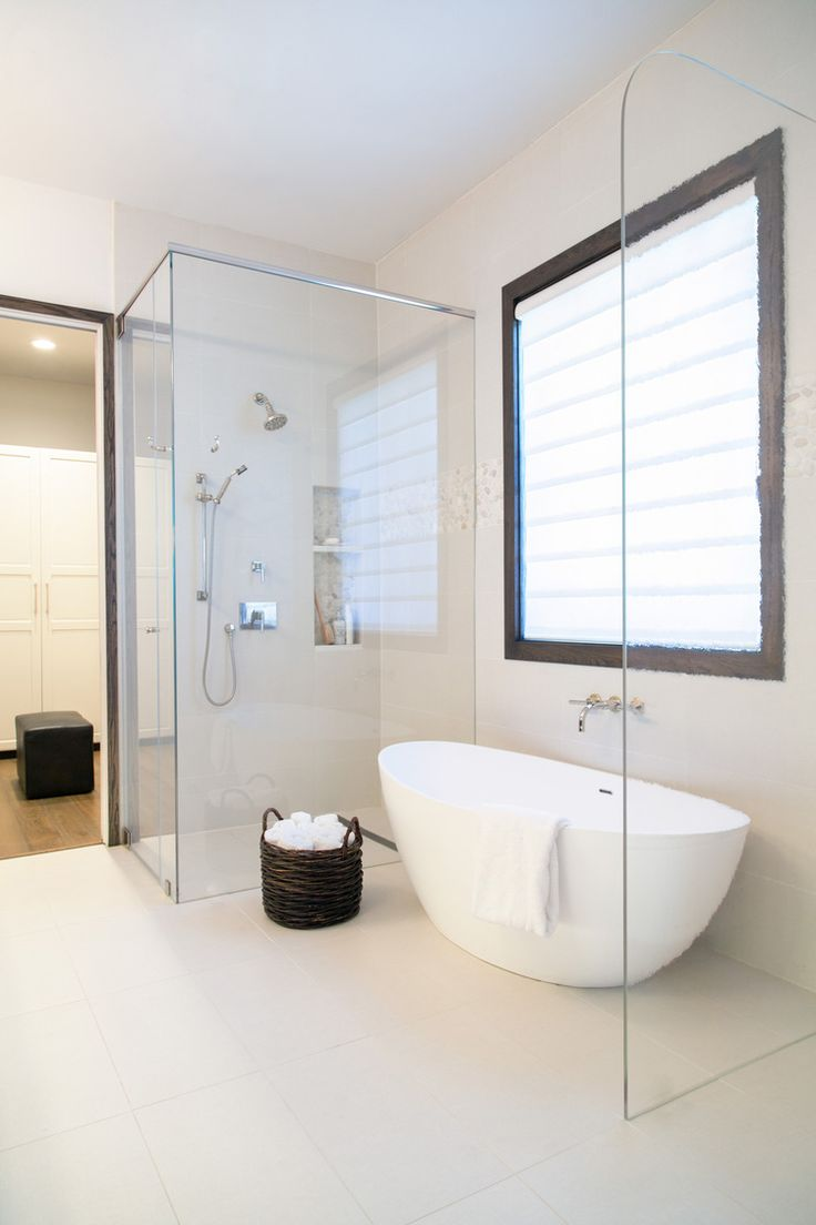 Master bathroom remodel; free-standing tub; shampoo niche; linear drain; Ikea closet| Interior Designer: Carla Aston / Photographer: Tori Aston
