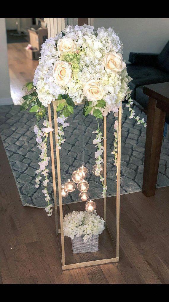 Gold Modern Rectangular Tall Metal Stand Wedding Centerpiece
