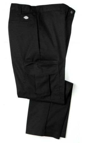 Dickies Mens 2112372 Cargo Pant - UNIQUE INSEAMS-BLACK-54x34. Wider belt loops, Reinforced front pockets. 7¾ oz Vat Dyed Twill, 65% polyester/35% cotton. Crotch gusset, Metal tack button waist closure. Two roomy cargo pockets w/hidden zipper closure, Extra pocket on outside left cargo pocket and inside right cargo pocket. StayDark® technology, Enhanced durability, Permanent press post cured finish. Variation Attributes: (54W x 34L) Size.