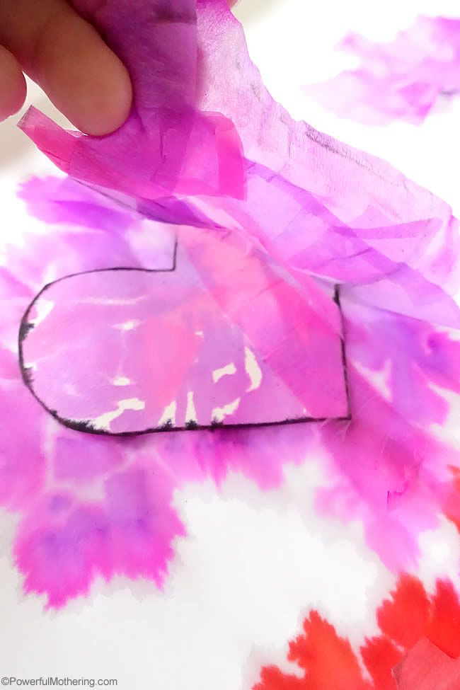 valentines tissue bleed art with fine motor skills great for young preschoolers!