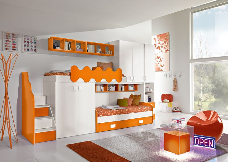 Cameretta arancione ~ Πάνω από κορυφαίες ιδέες για cameretta bambini con soppalco στο