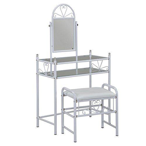 white metal vanity set. JOSETTE VANITY SET WHITE  Adjustable mirror swings backwards and forwards 615 best Makeup Desk images on Pinterest tables Mirrors