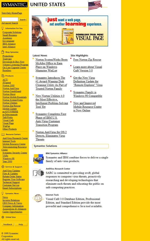 Symantec website in 1999
