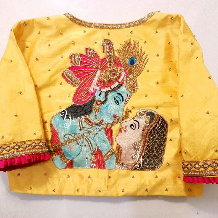 In a Spiritual Spree! Only way you can conquer Him is through Love and there He is gladly conquered! Radhe Krishna by YUTI! Beautiful sun shine yellow color designer blouse with radhe and krishna design hand embroidery thread work. For Orders and Queries reach at 044-42179088 or whatsapp:7010905260. 09 December 2017