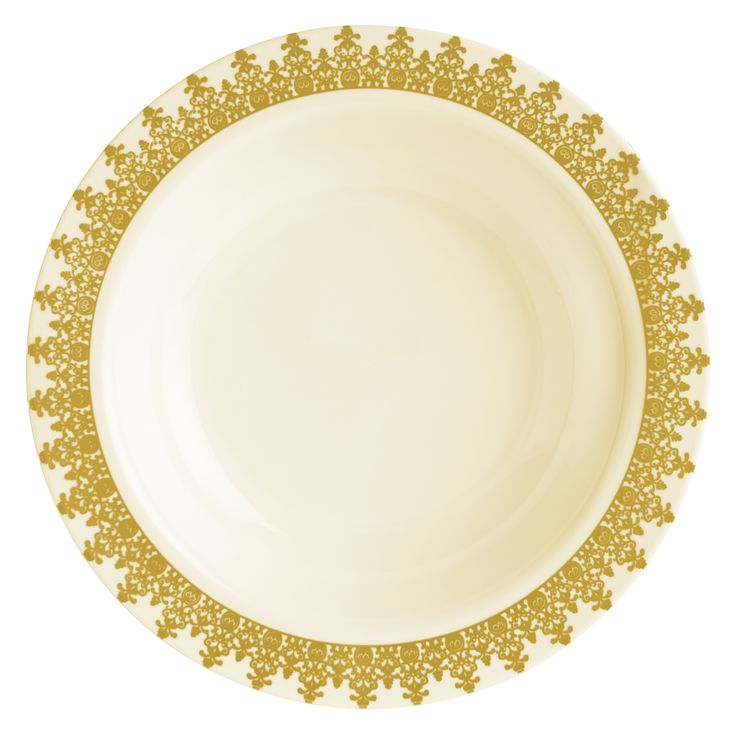 "Posh Party Supplies - 7"" Gold/Cream Plastic Ornament Dessert/Salad Plates - 10 Plates, $5.49 (http://www.poshpartysupplies.com/posh-products/elegant-plastic-wedding-and-paper-plates/7-plastic-dessert-salad-plates-with-gold-rim-ornament/)"