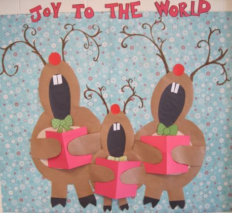 Reindeer Christmas Bulletin Board Idea.  Then have them write about their favorite christmas carol