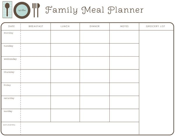 printable meal planner, with a place for notes and a grocery list