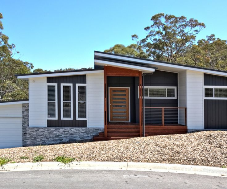 Mid Century Modern Exterior Elevation With Black White Wood Color