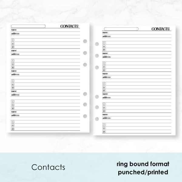 Ring Binder, Rings, Planner Inserts