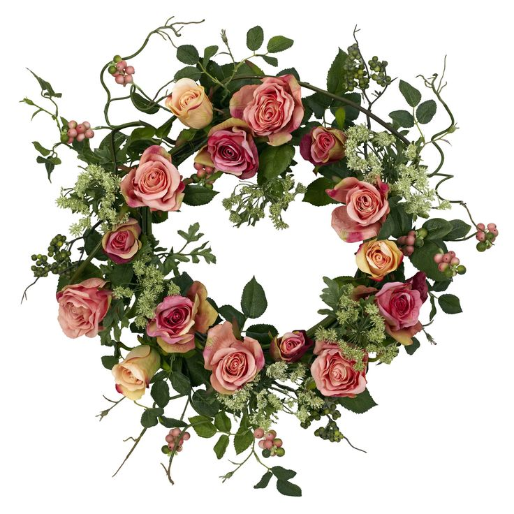 Bring style and elegance to your home with this round 20-inch rose wreath.  With no maintenance required, you can enjoy this all year long without worries.
