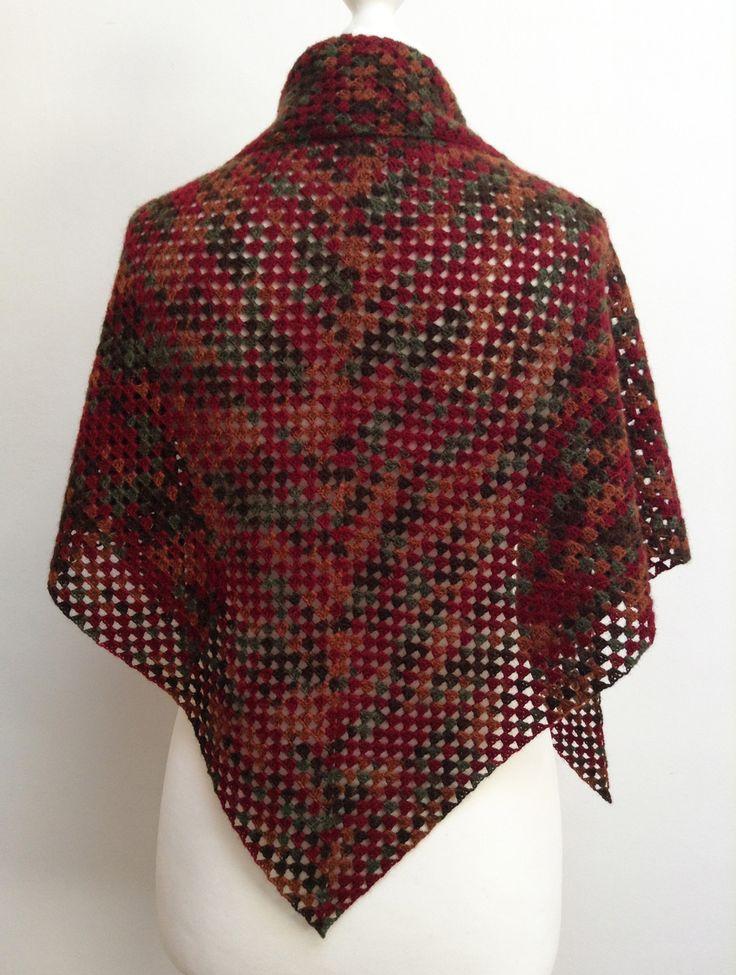 Châle granny multicolore couleurs automne, 100 % alpaga, pour femme : Echarpe, foulard, cravate par titlaine