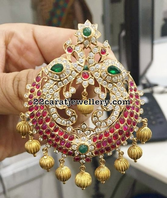 Diamond Nakshi work Pendant - Jewellery Designs