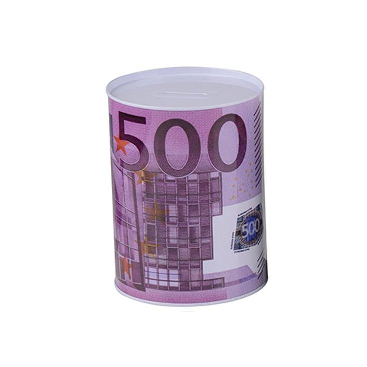 Amazing Spaar voor de mooiste cadeaus met deze Euro spaarpot Het blik heeft een ruime gleuf aan de bovenzijde Je kan de spaarpot alleen openen met een