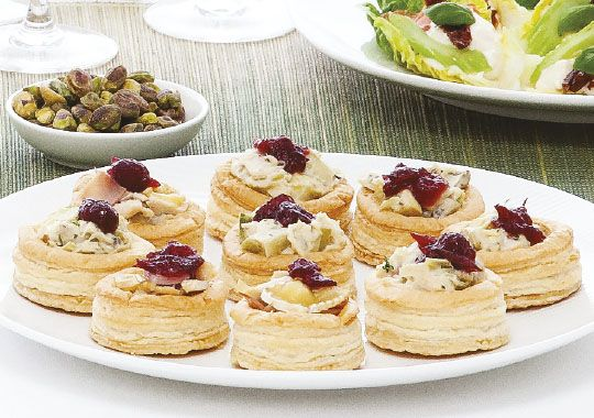 Cranberry and brie vol au vents