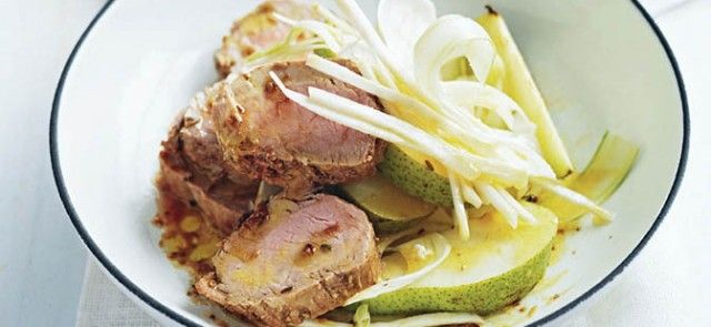 Salt-roasted Pork with Fennel and Pear Salad