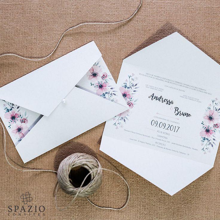 Convite de casamento barato em São paulo e Sjcampos - Papel reciclado com layout floral, moderno e barato, outlet de convites em são paulo - Spazio Convites